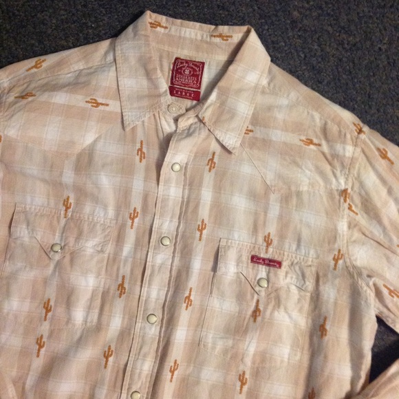 7e48497d5e Lucky Brand Other - Lucky Brand Plaid Cactus Pearl Snap Western Shirt